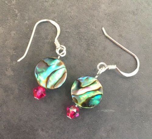 PE01-C-S Paua & Swarovski Short Earrings (FU)